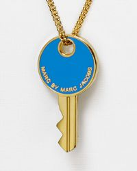 Marc By Marc Jacobs | Blue Lock-In Key Pendant Necklace, 27"