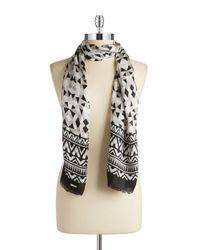 Calvin Klein | Black Geometric Silk Scarf | Lyst