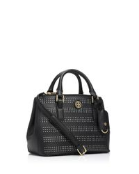Tory Burch Black Robinson Perforated Mini Double-Zip Tote