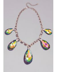 Bebe - Metallic Iridescent Gems Necklace - Lyst