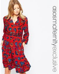 ASOS - Multicolor Shirt Dress In Folk Print - Lyst