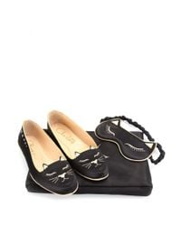 Charlotte Olympia Black Cat Nap Set With Satin Slippers, Eye Mask And Carry Case