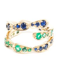 Sabine G - Blue 18k White Gold Emerald and Sapphire Spiral Ring - Lyst