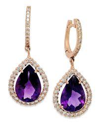 Macy's | Purple Amethyst (6 Ct. T.w.) And Diamond (3/4 Ct. T.w.) Earrings In 14k Rose Gold | Lyst
