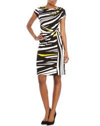 Ellen Tracy | Multicolor Printed Jersey Twist Dress | Lyst