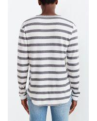 BDG Gray Winterlite Striped Henley Tee for men