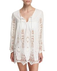 Nanette Lepore White Carnaby Crocheted Tunic Coverup