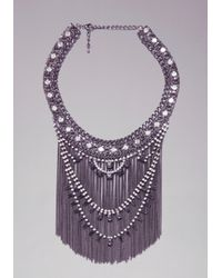 Bebe | Metallic Crystal  Fringe Necklace | Lyst