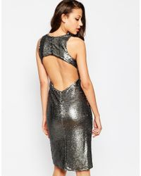 True Decadence Metallic Sequin Embellished Midi Dress With Keyhole Back