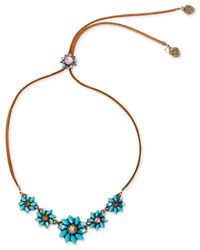 Betsey Johnson - Blue Brass-Tone Turquoise Flower Adjustable Frontal Necklace - Lyst