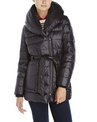 Kenneth Cole | Black Belted Packable Down Jacket | Lyst