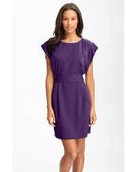 Eliza J | Purple Drape Sleeve Sash Belt Dress | Lyst