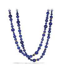 David Yurman - Blue Dy Signature Bead Necklace With Lapis Lazuli In 18k Gold - Lyst