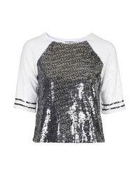 TOPSHOP Metallic Sequin Embellished Raglan Top
