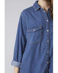 TOPSHOP Blue Moto Denim Oversized Shirt