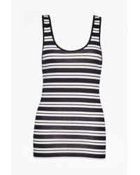 French Connection | White Stripe Mix Up Vest Top | Lyst