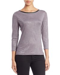Guess - Gray Faux Leather-trimmed Stretch Top - Lyst