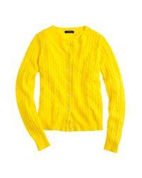 J.Crew Yellow Cambridge Cable Cardigan