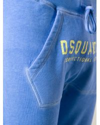 DSquared² Blue Drop Crotch Track Trousers for men
