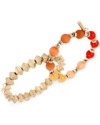Kenneth Cole | Multicolor Gold-tone Mixed Bead Stretch Bracelet Set | Lyst