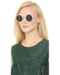 The Row White Round Sunglasses - Molasses/Brown