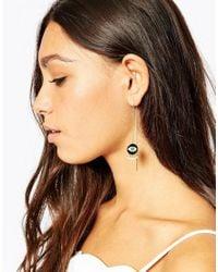 Eyland | Black Gold Plated Dia Through & Through Earrings | Lyst
