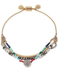 Kenneth Cole - Metallic New York Two-tone Crystal And Bead Layer Slider Bracelet - Lyst