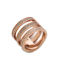 Michael Kors - Pink Tri Stack Open Pave Bar Ring Rose Goldclear - Lyst