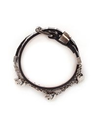 Alexander McQueen | Black Skull Chain Double Wrap Python Leather Bracelet | Lyst