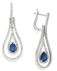 Macy's | Blue Sapphire (1 Ct. T.w.) And Diamond (3/4 Ct. T.w.) Drop Earrings In 14k White Gold | Lyst