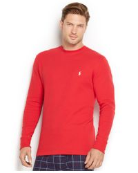 Polo Ralph Lauren | Red Men's Thermal Crew-neck Shirt for Men | Lyst