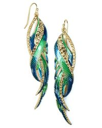 RACHEL Rachel Roy | Metallic Earrings, Gold-Tone Multicolor Feather Earrings | Lyst