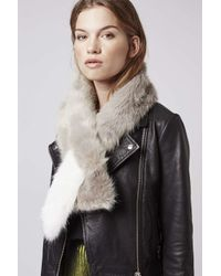 TOPSHOP - Natural Colourblock Pull-through Stole - Lyst