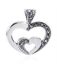 Aeravida | Metallic Twin Hearts Love Symbol Marcasite .925 Silver Pendant | Lyst