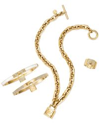 Michael Kors | Metallic Gold-Tone Crystal Plaque And Padlock Ring | Lyst