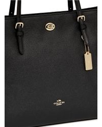 COACH Black 'turnlock' Grainy Leather Tote