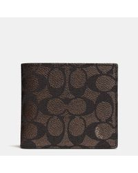 COACH Brown Coin Wallet In Signature Canvas for men