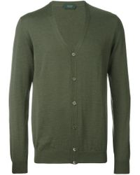 Zanone - Green V-neck Cardigan for Men - Lyst
