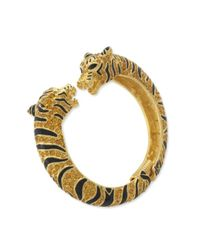 Kenneth Jay Lane | Metallic Black And Topaz Tiger Bracelet | Lyst