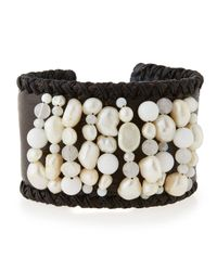 Nakamol | White Freshwater Pearl & Leather Cuff Bracelet | Lyst