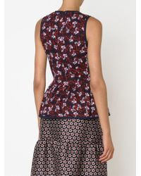 Mother Of Pearl | Blue Foliage Print Peplum Top | Lyst