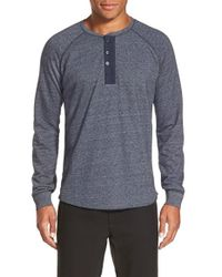 VINCE | Blue French Terry Henley for Men | Lyst