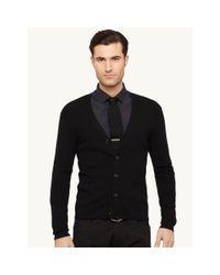 Ralph Lauren Black Label - Black Ribbed Wool V-neck Cardigan for Men - Lyst