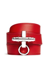 Givenchy - Red Obsedia Triple Wrap Leather Bracelet - Lyst