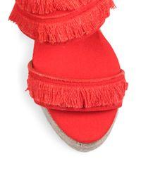 Castaner - Basha Feathered Canvas Espadrille Wedge Sandals - Lyst