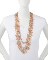 R.j. Graziano | Metallic Multi-row Beaded Necklace | Lyst