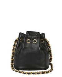 Moschino - Black Mini Leather Bucket Bag - Lyst