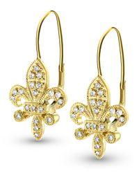 KC Designs - Metallic Yellow Gold Fleur De Lis Diamond Earrings - Lyst