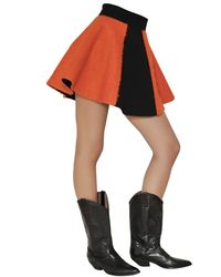 Fausto Puglisi Orange Wool Boucle And Crepe Skirt