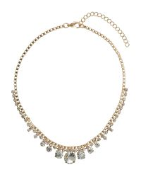 Mikey | Metallic Round Crystal Box Chain Linked Necklace | Lyst